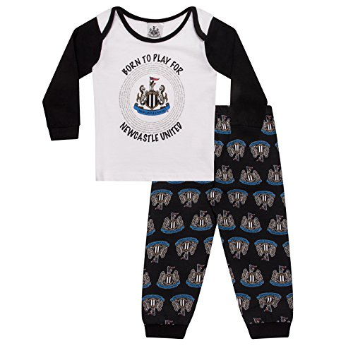 Newcastle United FC Official Football Gift Boys Kids Baby Pyjamas 3-6 Months Black