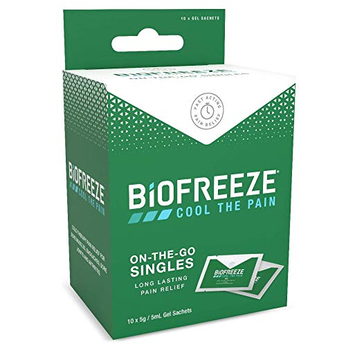 Biofreeze Pain Relieving Gel, 5ml Gel Packets, Box of 10, Cooling Topical Analgesic, On-the-Go Use, Long Lasting, Targeted Pain Relief, Cold Therapy, Fast Acting for Muscle, Joint, & Back Pain