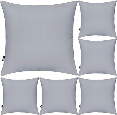 Lot de 6 housses de coussin carrées décoratives en 100 % coton, 45 x 45cm, gris clair