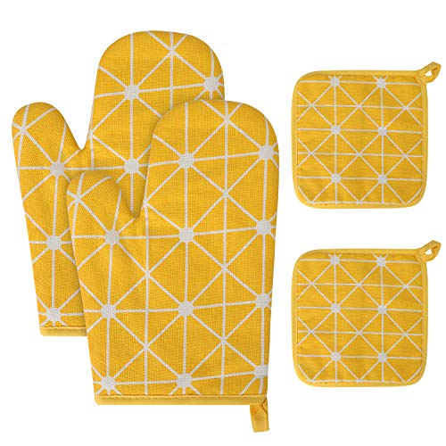 ORNOOU Oven Mitts and Potholders 4pcs/Set, Scandinavian Design Thicken Heat-Resistant Gloves and Pot Holders, Non-Slip Kitchen Oven Mitts for Baking Cooking Grilling (Yellow)