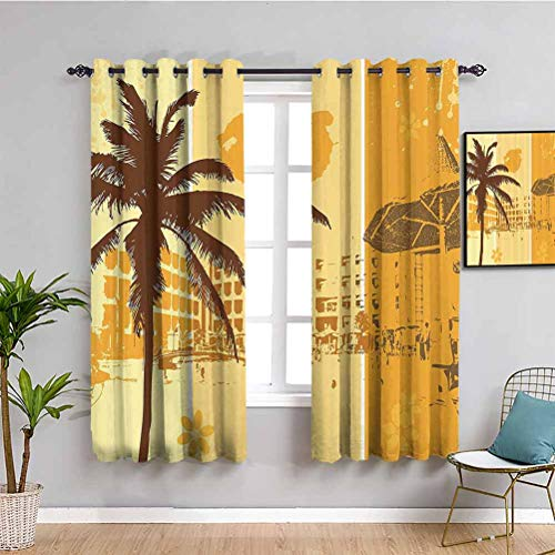 Landscape Farmhouse Curtain Summer Holiday Theme Illustration of a Resort Flowers and Palm Trees Pattern Protective Furniture W63 x L45 Inch Brown Marigold