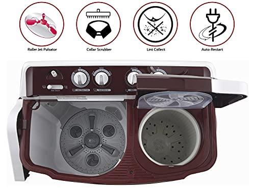 LG 8 Kg 5 Star Semi-Automatic Top Loading Washing Machine (P8030SRAZ, Burgundy, Collar Scrubber)