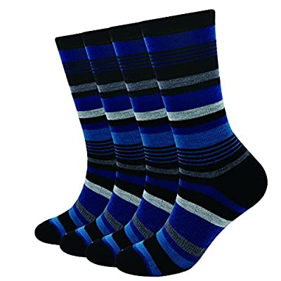 EnerWear 4 Pack Women's Merino Wool Outdoor Hiking Trail Crew Sock (US Shoe Size 4-10, Blue/Black Stripe)
