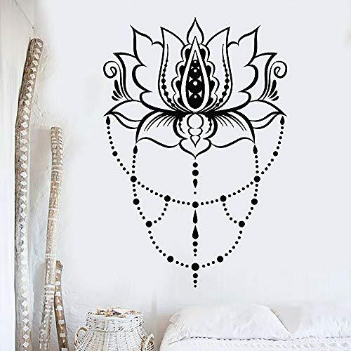 HGFDHG Lotus Etiqueta de la Pared Yoga Studio Art Deco símbolo Indio Flor Abstracta Vinilo Pared decoración del Dormitorio
