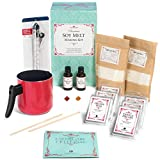 Soy Melts/Tarts Making Kit – Complete DIY Set Creates 6 Delightfully Scented Melts by Essential Reserve with Orange Bliss & Vanilla Dreams Fragrances (w/Red Pitcher)
