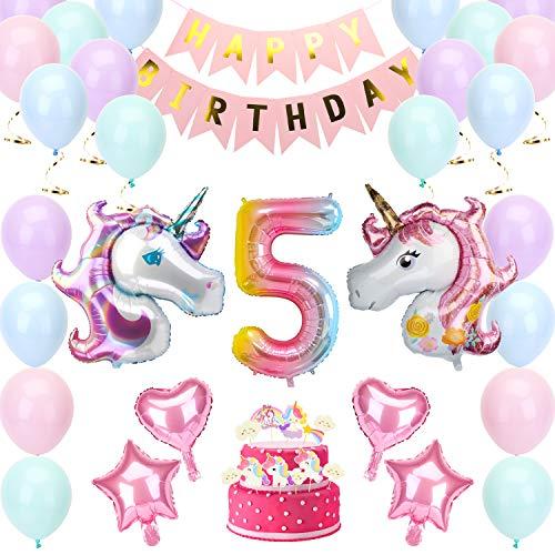 KATELUO Decorazioni per Feste di Unicorno, Unicorno Palloncini Compleanno Decorazioni, Palloncini Unicorno,Buon Compleanno Banner, Macarons Palloncini, Torta Toppers
