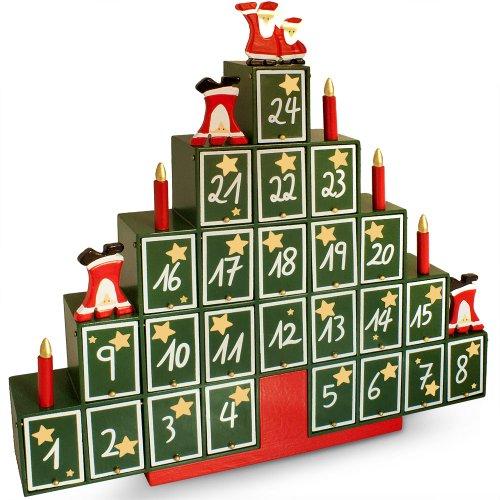 Deuba Calendrier de l'Avent en Bois pour Noël avec tiroirs pour Remplissage Individuel Calendrier de l'avent Original Décoration noël