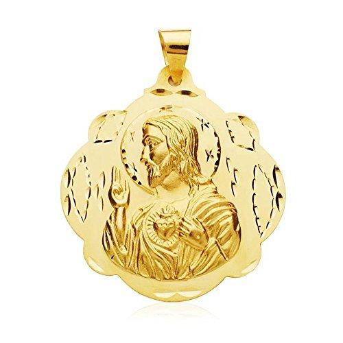Medalla Oro 18K Escapulario Virgen Carmen Corazón Jesús 42mm. [Ab3419]