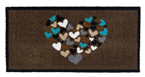 Felpudo para la entrada con dibujo de corazón, antideslizante, absorbente, lavable a 30°C, en marrón o gris, marrón, 80 x 40 cm