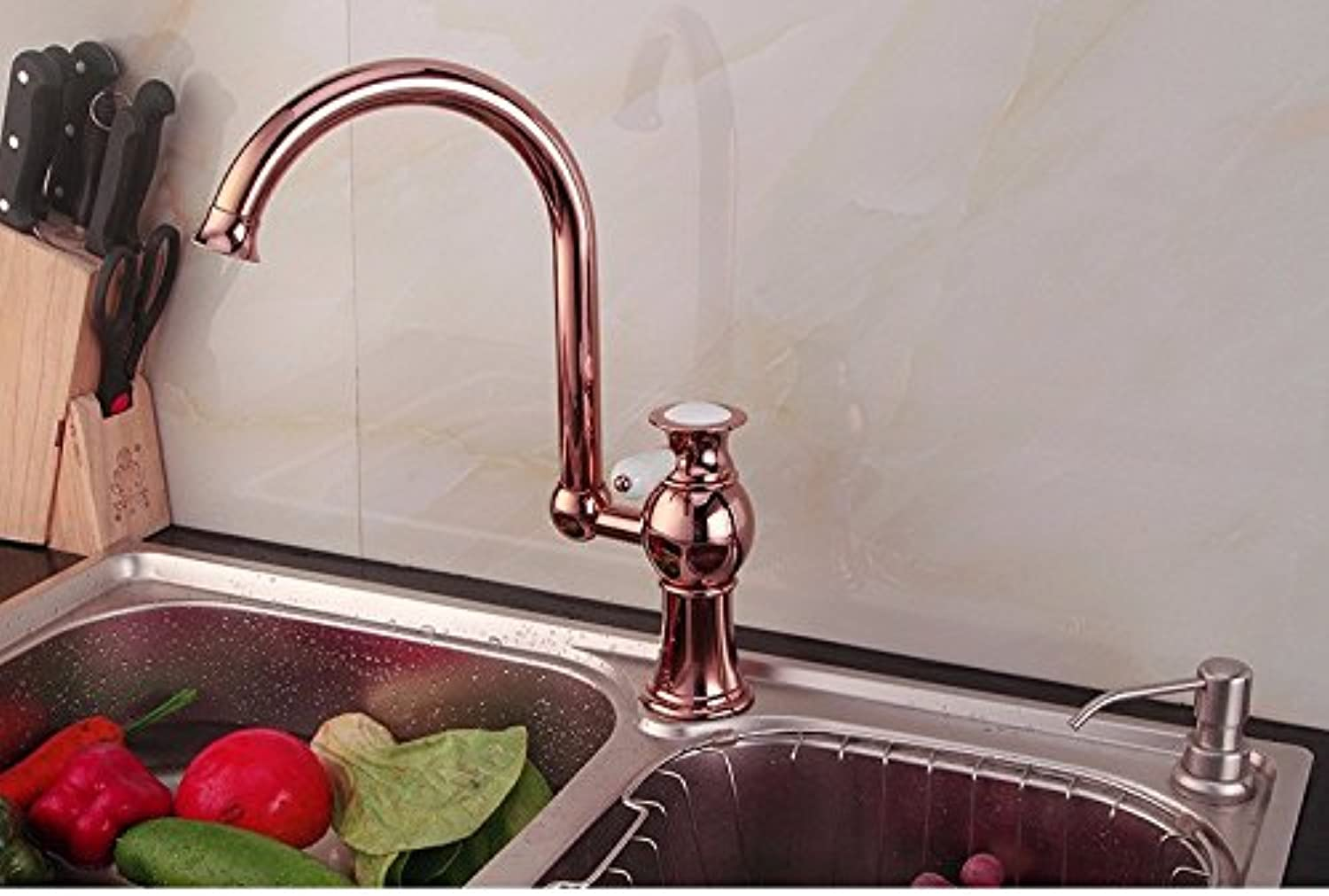 Tap-Sink Tap Basin Mixer Tap European Style Red Bronze Mixing Water Tap Kitchen Kitchen redary Bath Basin Faucet