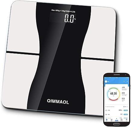 【2019年最新版】体重計Bluetooth 体組成計 スマホ 体脂肪計 12種類測定可能 日本語対応取扱説明書 健康管理 Qimmaol 家庭用 データ自動記録 スマホ連動 体重 体脂肪率体水分率 筋肉率 骨量カロリーBMIなど測定