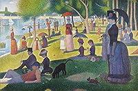 AMANUO 人気の名画 複製画 120X80 cm 人物 油絵 絵画 印刷 スーラ (Seurat) 額縁なし - グランド・ジャット島の日曜日の午後 A Sunday Afternoon On The Island Of La Grande Jatte