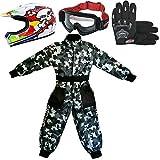 Leopard LEO-X18 Casco de Motocross para Niños y Gafas y Guantes + Traje de Motocross para Niños | Traje S (5-6 Años) + Casco&Guantes M - Cráneo