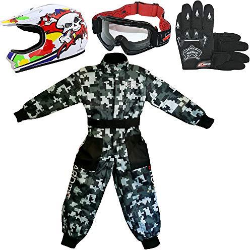 Leopard LEO-X18 Casco de Motocross para Niños y Gafas y Guantes + Traje de Motocross para Niños | Traje XL (11-12 Años) + Casco&Guantes L - Cráneo