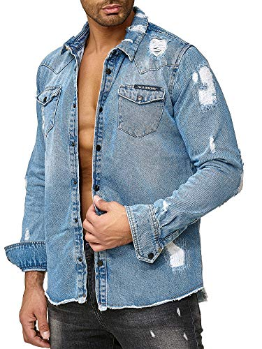 Red Bridge Herren Jeanshemd Oversized Freizeit- Hemd Denim Destroyed Blau M