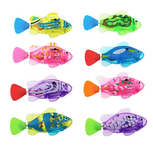 Tipmant Baby Toddler Bath Toy Electric Fish Goldfish with Flashing Light Swim in Water Tank, Bathtub, Swimming Pool for Kids Gift - 8 Pack