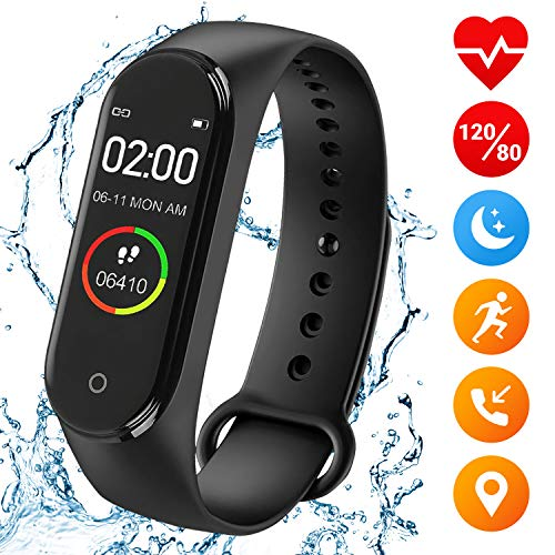 Fitness Tracker Smartwatch Bracelet Exercise Monitors Heart Rate Sleep Monitor Blood Pressure Activity Calories Calorie Wristband Watches for Gym Waterproof Heartbeat Pulse Stepper Sport Cardio