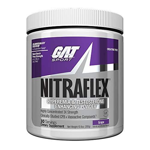 GAT Clinically Tested Nitraflex, Testosterone Enhancing Pre Workout, Grape, 300 Gram