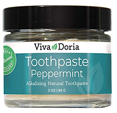 Viva Doria Fluoride Free Natural Toothpaste - Peppermint (3 oz glass jar) Refreshes Mouth, Freshens Breath, Keeps Teeth and Gum Healthy