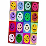 3dRose Colorful Smiley face Squares Warhol Style-Happy Rainbow Smilies-Bright Multicolor Towel, 15' x 22'