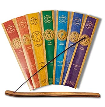 Chakra & Luck Ultra Premium Natural Incense Sticks 7 Chakras 49 Piece Variety Gift Pack in Lotus Jasmine Eucalyptus Rose Lavender Ylang - Ylang and Cedar Scents with a Free Wood Stick Holder