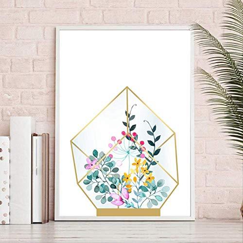 LWJZQT geometrisch glas terrarium canvas kunstdruk en posters, moderne planter Botanische bloemen canvas schilderij muurschildering kunst decor