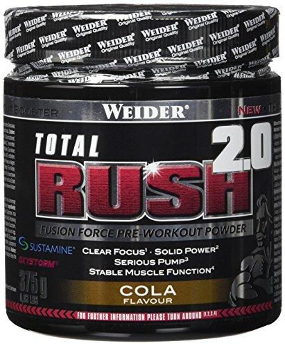 WEIDER Total RUSH 2.0 Pre-Workout Pulver, Cola, 375 g Energy Booster für mehr Leistung im Gym