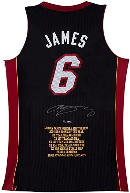 LeBron James Signed Miami Heat 10th Anniversary Stats Jersey ...