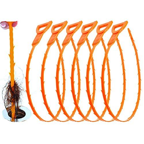 Huryfox 6 Pack Drain Clog Remover Plumbing Tool for Bathroom Shower & Bathtub Drain Cleaner Sink Unclogger Hair Catcher Stick Pipe Tub (Orange)
