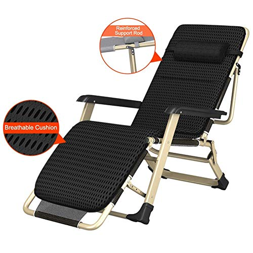 AFDK Oversized Folding Patio Lounge Chaise Bed, Portable Armrest Recliner for Heavy Duty People - Supports 200 Kg (Black),with Breathable Cushion