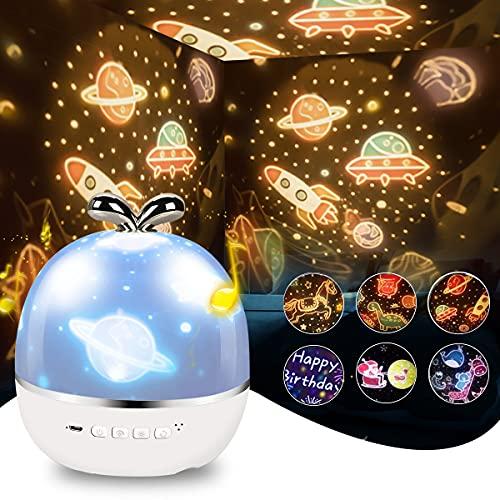 Satohom Proyector Estrellas Luz Nocturna Infantil para Niños Lámpara Proyector Luz de Noche para Bebé Dormitorio Proyector Infantil con Música 360° Rotación Proyector de Luz Estelar para Habitación