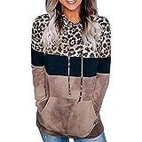 Sudadera con capucha casual de manga larga para mujer Pullover Tops con capucha Suéter con botones con bolsillo Kanga Sudaderas con capucha de bloque de color de leopardo casual Sudadera con bolsillo