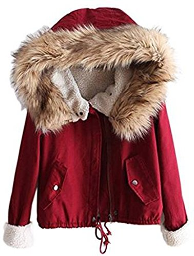 Sevenelks Winterjacke Damen Herbst Mantel Verdickte Parka mit Kapuzen Winter Mantel Trenchcoat Outerwear Grün