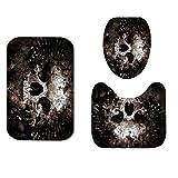 Scary Rusty Rotten Skull Patrón de Halloween para cortina de ducha antideslizante alfombra de baño Set impermeable poliéster cortina de baño, asiento de inodoro, China