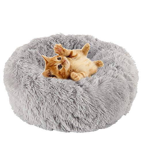 Your's Bath Donut Pet Beds, Washable Cats and Dogs Plush Bed Warm and Soft Pet Cosy Anti Anxiety Beds with Non-Slip Bottom for Improved Sleep (Gray, 50cm)