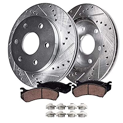 "Detroit Axle - 12"" 6-Lug Drilled & Slotted Front Brake Kit Rotors & Pads w/Clips for 99-06 Silverado/Sierra 1500 4 wheel Disc Brake Kit - 02-06 Escalade/Avalanche - [01-06 Suburban, Yukon XL,Tahoe]"