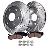 Detroit Axle - Front Drilled Slotted Brake Kit Brake Rotors with Ceramic Brake Pads and Hardware Clips Replacement for Chevy GMC Cadillac Models - 4pc Set