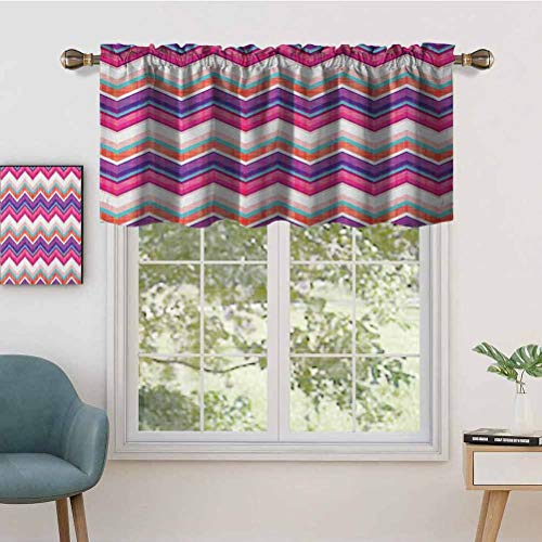Hiiiman Rod Pocket Curtain Valances Chevron Motifs with Variable Angles Parallel Lines Gr, Set of 2, 54'x36' Thermal Insulated for Living Room