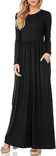 Long Maxi Dress, Womens Long Sleeve Plain Pockets Pleated Tunic Loose Swing Casual Dress
