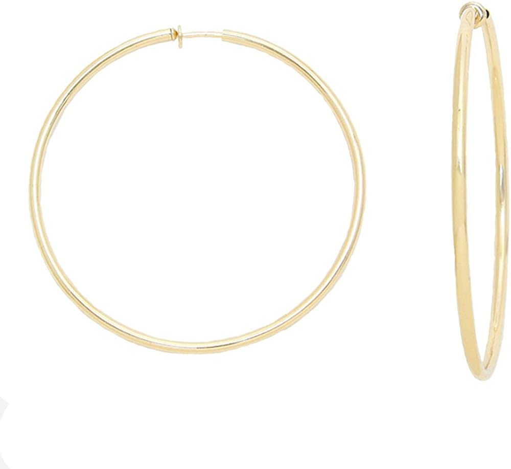 2.25 in Solid Goldtone Spring Back Hoop Clip On Earrings- With pull back spring loaded, comfortable for your ears