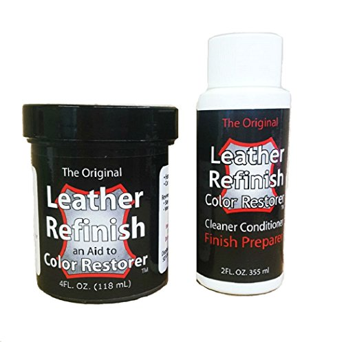Leather Refinish Color Restorer Dye & Cleaner/Preparer Combo Kit,...