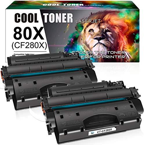 Cool Toner Compatible Toner Cartridge Replacement for HP 80X CF280X 80A CF280A HP Laserjet Pro 400 M401n MFP M425dn M401dne M401dn M401dw M425dw Laserjet Pro 400 Toner M401 M425 Ink (Black, 2-Pack)