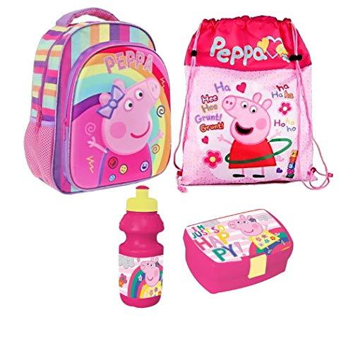 Peppa Pig Wutz Regenbogen 4 Teile Set Rucksack Tasche Kindergarten mit Sticker von Kids4shop Turnbeutel BROTDOSE TRINKFLASCHE