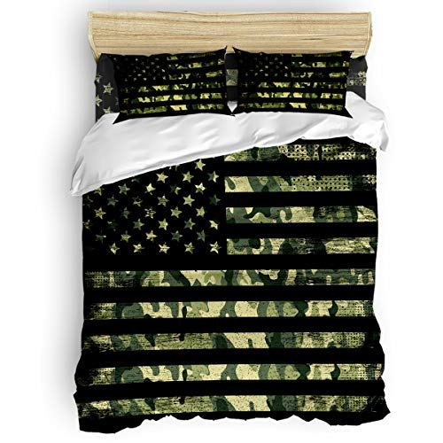 LOVE HOME DAY Camouflage American Flag Bedding Sets Full Ultra Soft 4 Pieces Duvet Cover Set with Decorative 2 Pillow Shams Bedspread Bed Sheets Patriotic Stars and Stripes