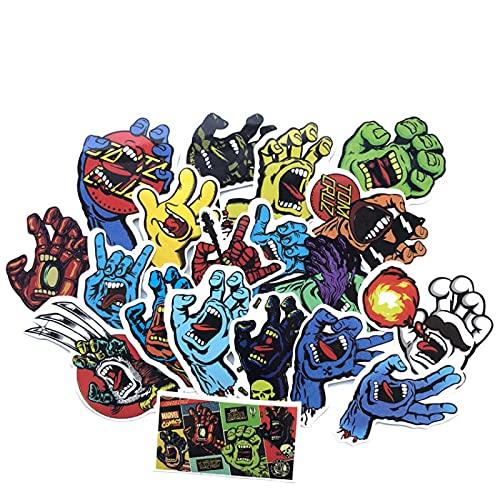 Europea y Americana Tendencia Fantasma Mano Divertido Personalizado Pvc Impermeable Graffiti Pegatinas Equipaje Pegatinas Portátil Monopatín Copa Agua Guitarra Pegatinas Creativas 19 unids