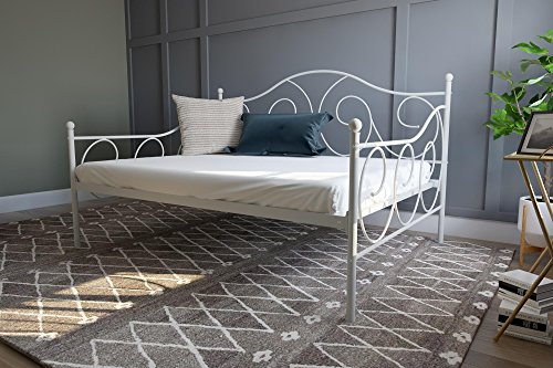 dhp full size bed frames DHP Victoria Daybed, Full Size Metal Frame, Multi-functional Furniture, White