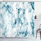 Ambesonne Nature Shower Curtain, Fluffy Cloud Skyline Like Marble Motif with Grunge and Retro Features Art Image Print, Cloth Fabric Bathroom Decor Set with Hooks, 70' Long, Turquoise