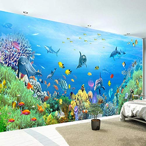 Papier Peint 3D Aquarium Dauphin Poisson Rouge Corail Photo Mural Effet Mur Géant Photos Moderne Intissé Décoration Murale Trompe l'Oeil Revêtement Panoramique Tapisserie XXL, 350 x 256 cm