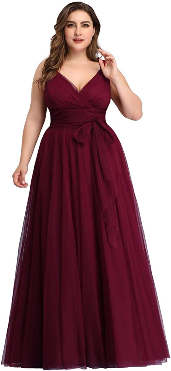 Alisapan Womens V-Neck Plus Size Long Bridesmaid Wedding Guest Party Prom Dresses 73031