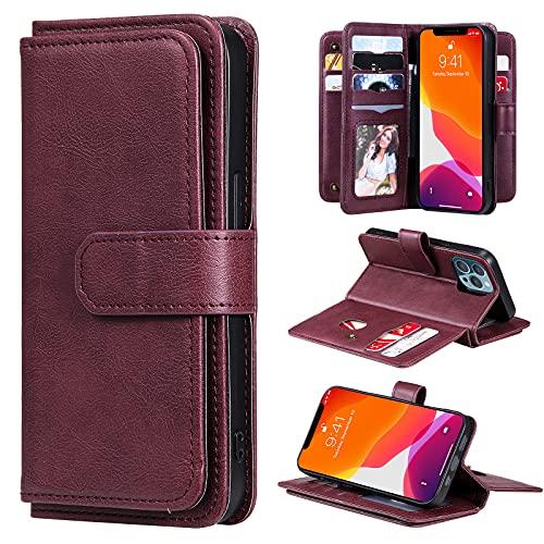 Funda de piel tipo cartera para iPhone 13 Pro de 6.1 pulgadas con 10 ranuras para tarjetas, funda con soporte antigolpes, cubierta de parachoques (vino, iPhone 13 Pro)